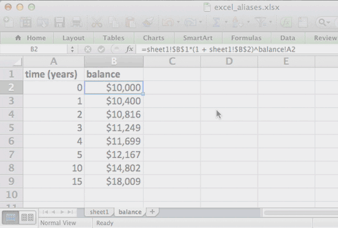 Animated GIF showing  a screen capture recording of converting the cell references in an Excel formula to  aliases and named ranges.